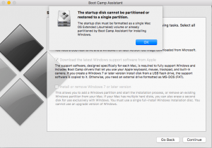 the startup disk cannot be partitioned or restored to a single partition